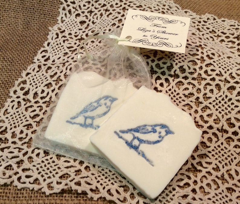 30 custom favors in Organza Bag 30 Blue and White Bluebird Wedding Favor Soap,Bridal Shower Favors,Baby Shower Soap Favors