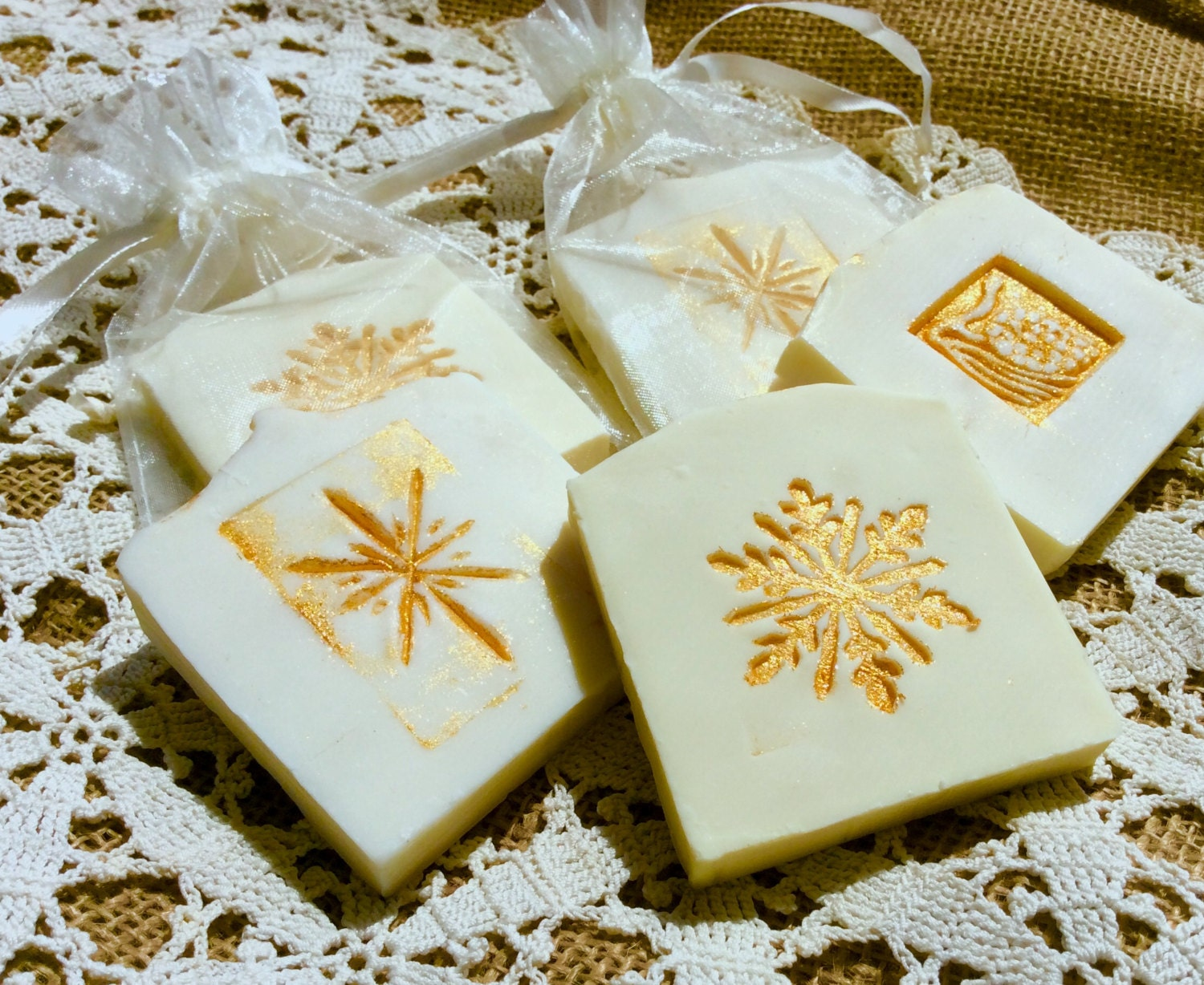Winter Wedding Gifts: 30 Winter Wedding Favor Soaps Gold Accented Favor Soap