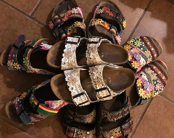 f769a0c21052 Hippie Birkenstocks Custom Made to order Any Size color combination