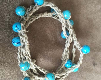 Hemp and Turquoise glass beads wrap bracelet