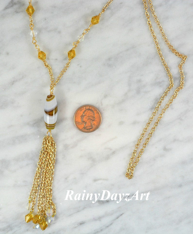 Slip On Necklace 30 Necklace Natural Brown /& White Agate Tassel Necklace With Citrine Color Beads Stripes Agate Column Pendant Necklace