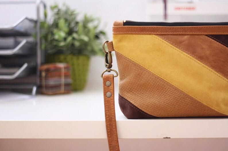 954d1b0bab7 OOAK Earth tones diagonal stripes leather bag leather purse | Etsy