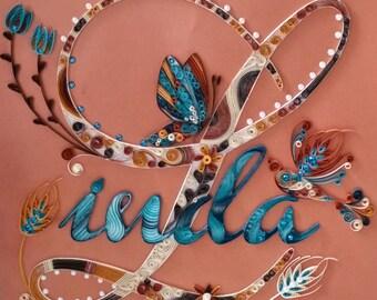 Quilling - Custom Name Wall Hanging, Linda