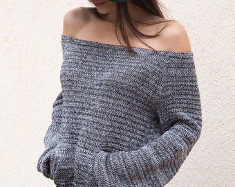 Handmade Grаy Melange Asymmetrical Sweater/Knitwear Dress/Long Pullover/Loose Plus Size Sweater/ Off Shoulder Sweater/Knit Blouse/Top/F1553