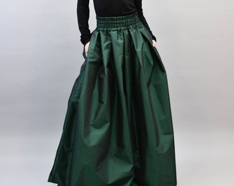 Taffeta Walking Skirt Tiered Long Victorian Skirt-One Size Fits All-choose your colour