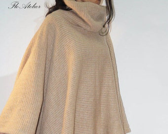 Extravagant Knit Asymmetrical Poncho/Loose Cardigan/Plus Size Top/Oversized Coat/High Quality Vest/Jacket for Woman/Extravagant Coat/F1265