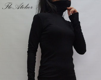Black Long Sleeve Tunic Top,/Womens Casual Blouse/ Long Sleeves Dressy Top Casual Maxi Shirt Top/F1312