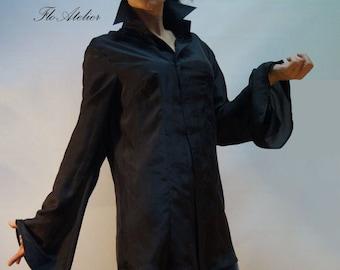 e23364027546d9 Black Silk Loose Extravagant Shirt/All Season Shirt/Top With Wide  Sleeves/Silk Black Tunic/Handmade Black Tunic/Extravagant Black Top/F1216