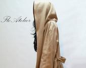 Hooded Long Wool Coat Winter Cape Coat Cashmere Wool Coat Long Sleeve Trench Coat Large Pockets Coat Casual Autumn Winter Beige Coat F1322