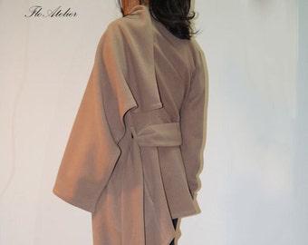 Long Wool Coat/Winter Cape Coat /Cashmere Wool Blend/Long Sleeve trench Coat/Asymmetrical Coat/Extravagant Coat/Beige Coat/High Collar/F1280