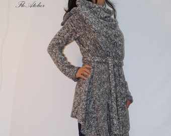 Gray Asymmetrical Cardigan/Oversized Sweater/All Season Coat/Extravagant Top With Belt/Loose Knitt Coat/High Quallity Vest/F1281