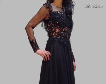 940ac37b9e5e Evening Lace Dress/ Chiffon Dress / Prom Long Dress / Handcrafted with  Beads/ Romantic Dress/F1003