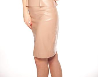 Leather Pencil Skirt/Everyday Skirt/Formal Skirt/Handmade Party Skirt/All Season Skirt/Nude Colour Skirt/Casual Pencil Fashion Skirt/F1200