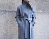 Grey Lined Coat Cashmere Wool Coat Winter Coat Belted Coat XXL Coat Masculine Coat Symmetrical Coat Autumn Winter Coat Warm Coat F1661