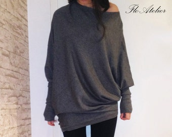 Loose Grey Blouse/Knitwear/Oversize Top/Light Knit Sweater/Extra Long Sleeves/Extravagant Top/Asymmetrical Blouse/Grey Blouse/Long Top/F1413