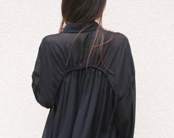 1321cb8f7399b7 Black Loose Extravagant Shirt/ All Season Shirt/Viscose Shirt/Black  Tunic/Over sized top/Black blouse/Ties Top/ Ties Shirt/F1628
