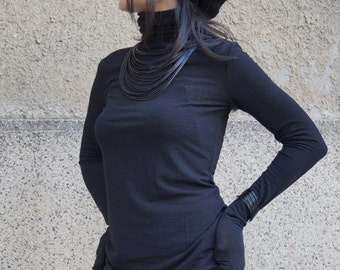 Black Top/Long Sleeve Tunic/Oversized Top/Casual daywear/Dressy Top/Casual blouse/Extra long sleeves/Maxi Shirt/Maxi Top/Turtleneck/F1668