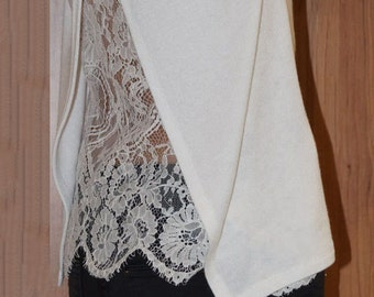 65f8b581c0a640 White Cotton Lace Women Blouse/Handmade Long Sleeve Lace Shirt/Casual Sexy  Body Shirt/Lace Long Sleeves Blouse/Fashion White Lace Top/F1341