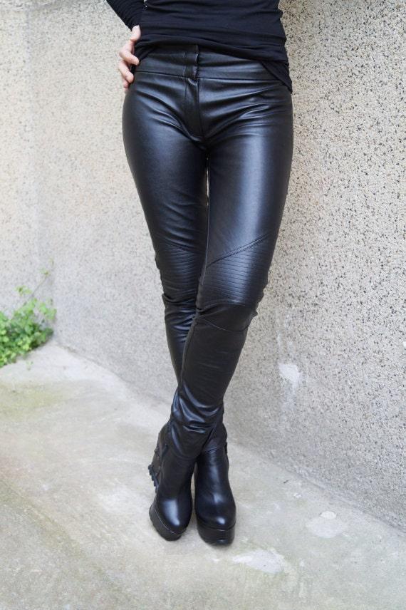 a2c1b2bb15eacb Women Faux Leather Pants/Stretch Leggings/Skinny Faux Leather | Etsy