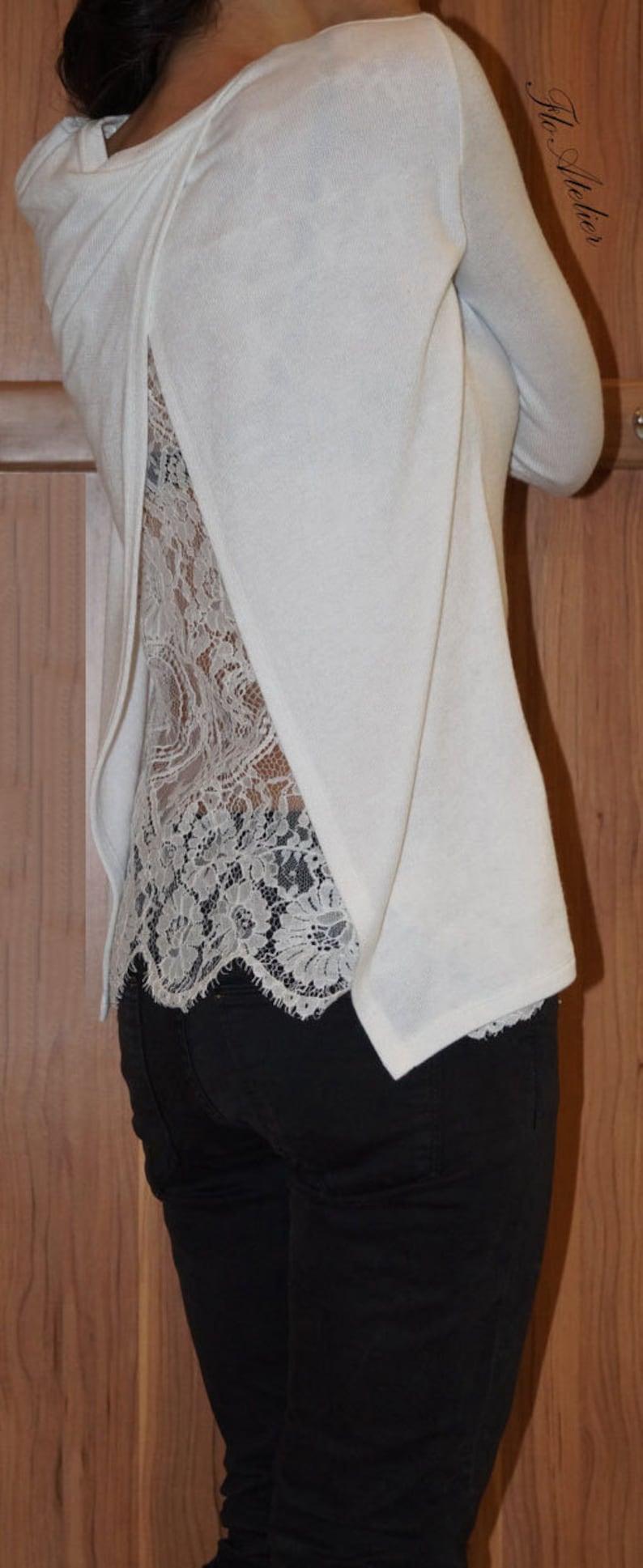 3b115e8afc2a90 White Cotton Lace Women Blouse/Handmade Long Sleeve Lace | Etsy