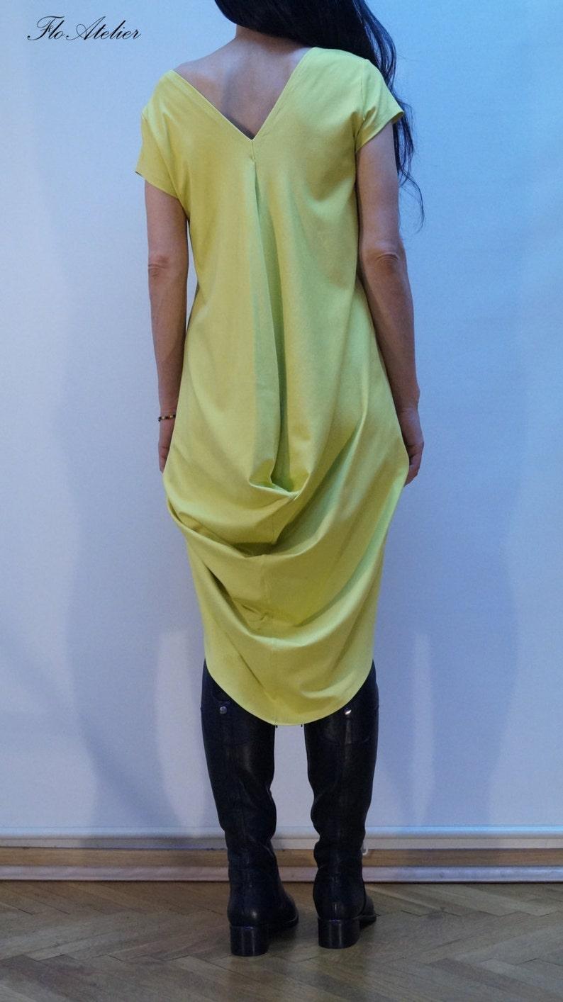 Asymmetrical Maxi TunicYellow Summer Long TopAsymmetrical DressSummer DressCotton with Elastane TunicCasual DressYellow TunicF1140