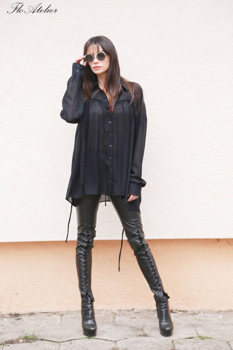 b4f66b5b4112e1 Black Loose Extravagant Shirt/All Season Shirt/Viscose | Etsy
