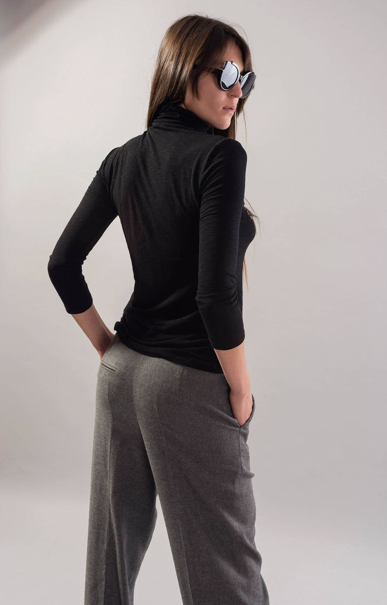 Black Turtleneck Top34 Sleeve TunicPolo TopWomen Casual BlouseLong Sleeves Dress TopCasual Maxi ShirtTurtleneck ShirtBlack TopF1734