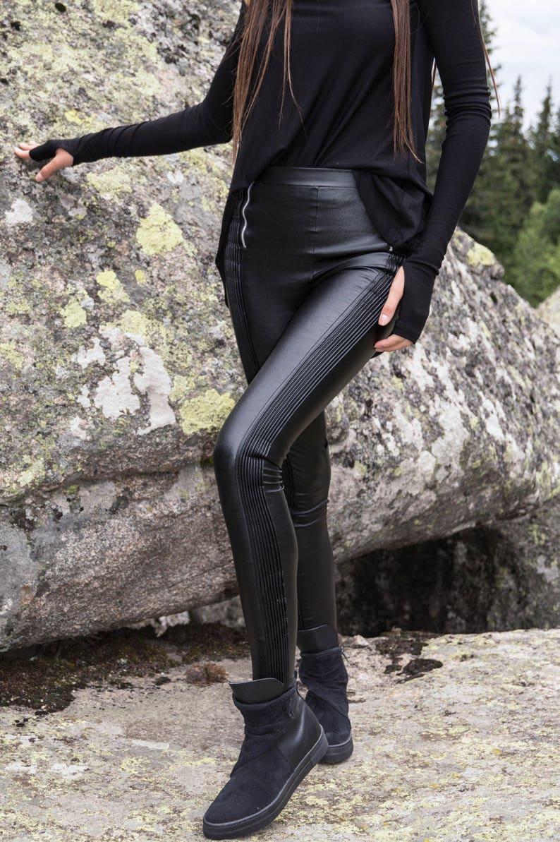 003e908090b5 Vegan Leather Pants/Stretchy Pants/Leggings/Skinny Pants/Black   Etsy