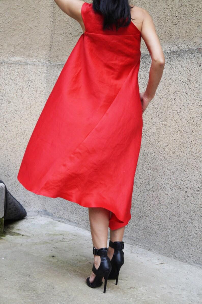 Red KaftanAsymmetrical TunicRed DressRed Linen Casual KaftanHandmade Party DressCasual Red DressOne Shoulder DressHandmade TopF1475