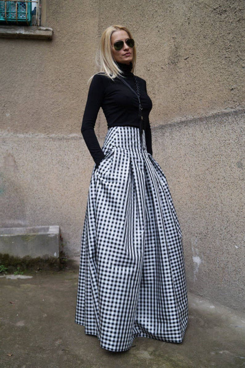 5aeb9318b Gingham Lovely Black and White Long Maxi Skirt/High or Low | Etsy