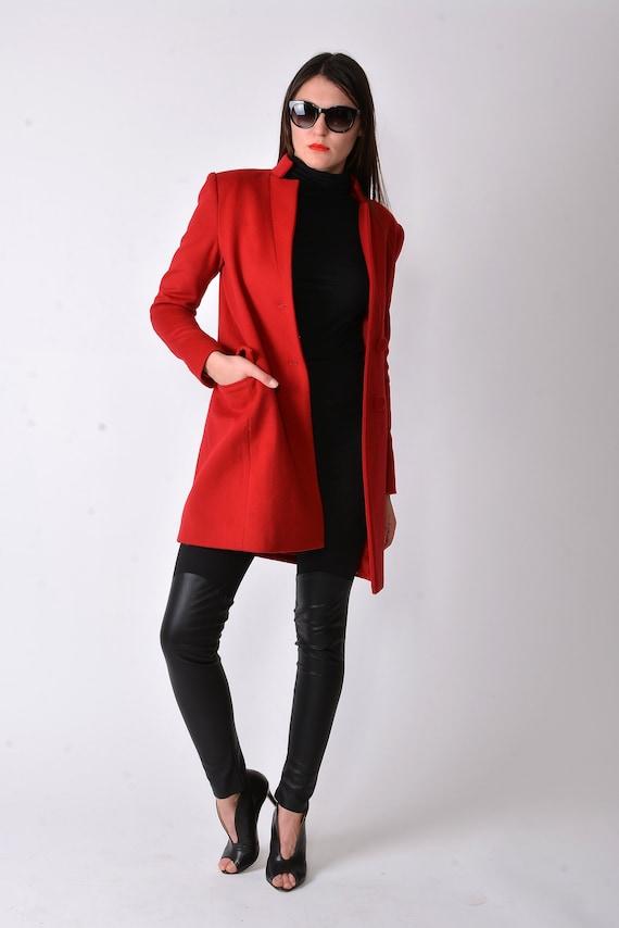 Red Masculine Coat Long Wool Coat Winter Collar Coat  Cashmere  88faae272bb