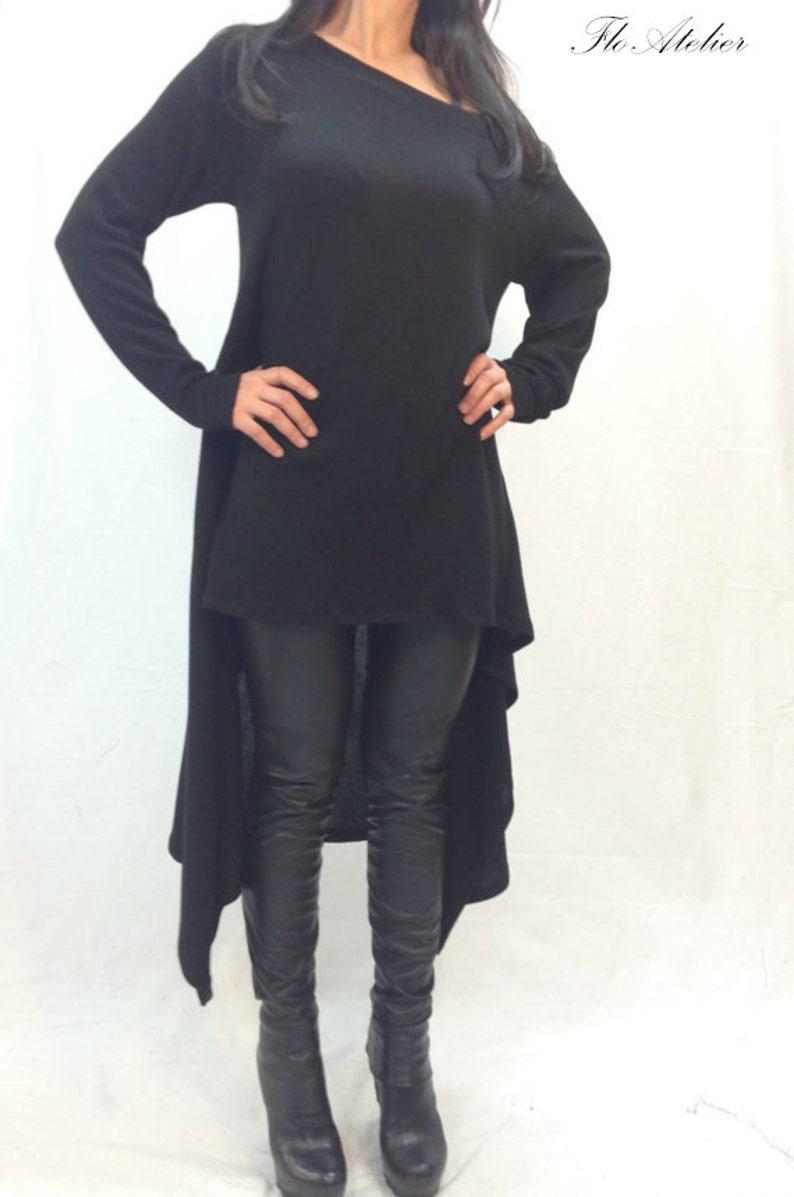 Black Asymmetrical SweaterCozy Pullover Sweater DressKnit DressWomen Ribbed SweaterMaxi BlouseOver Sized Knit TopWinter BlouseF1011