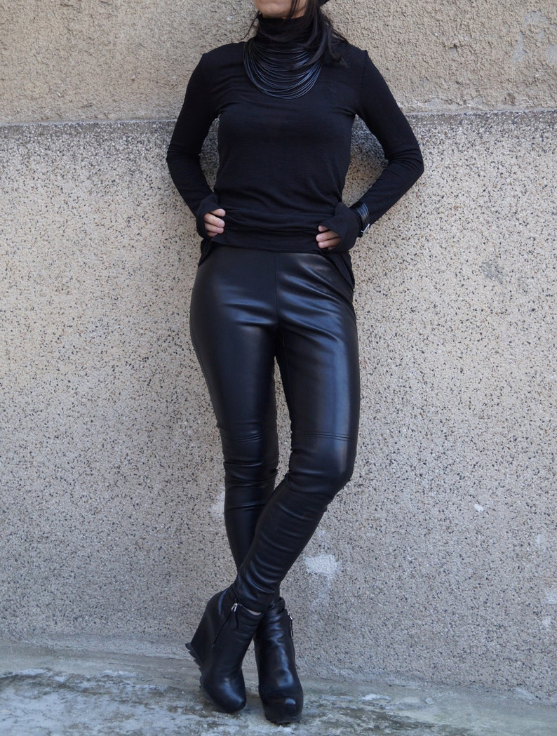 800f32fb9b07 Vegan Leather Pants/Stretchy Pants/Leggings/Skinny   Etsy
