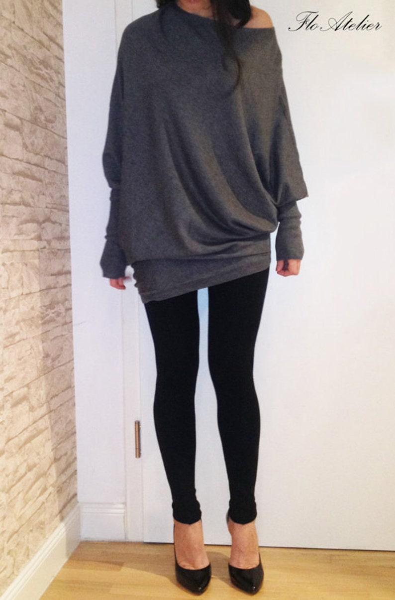 Loose Grey Blouse/Knitwear/Oversize Top/Light Knit image 1