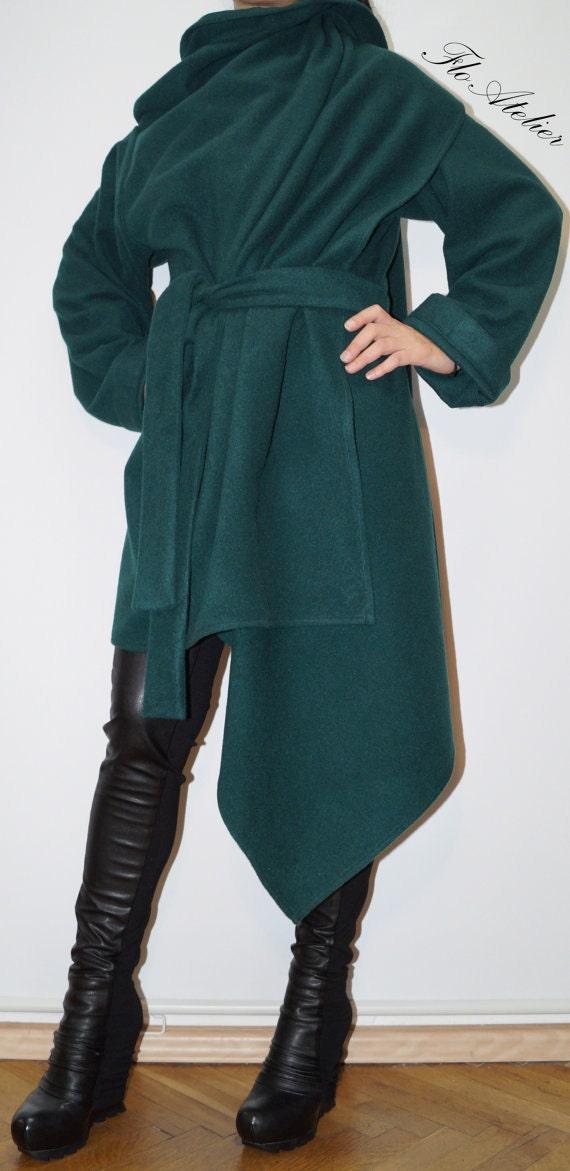 Emerald Green Long Wool Coat Winter Cape Coat Cashmere Wool Etsy