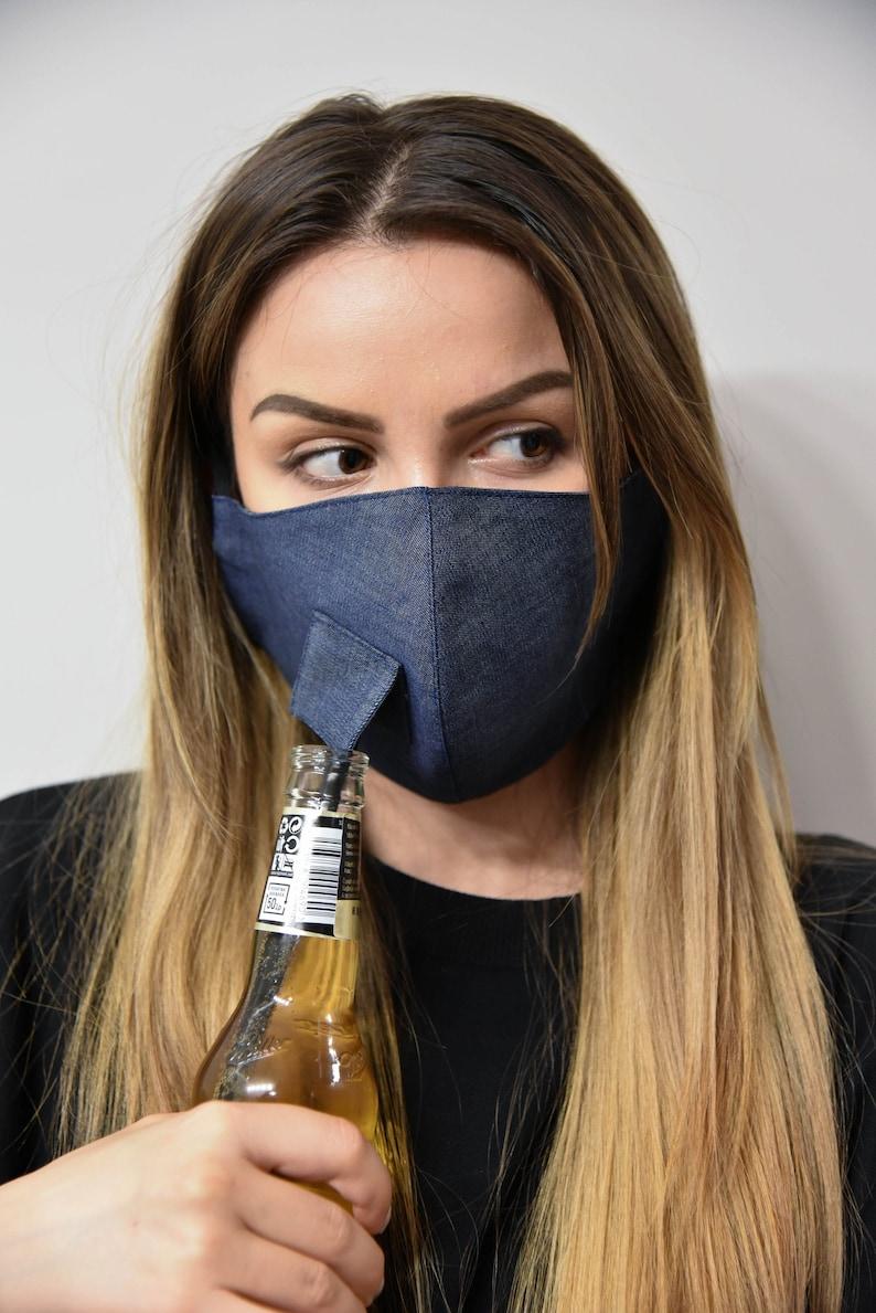Blue Face Mask with Slit/Face Mask with Opening/Washable image 0