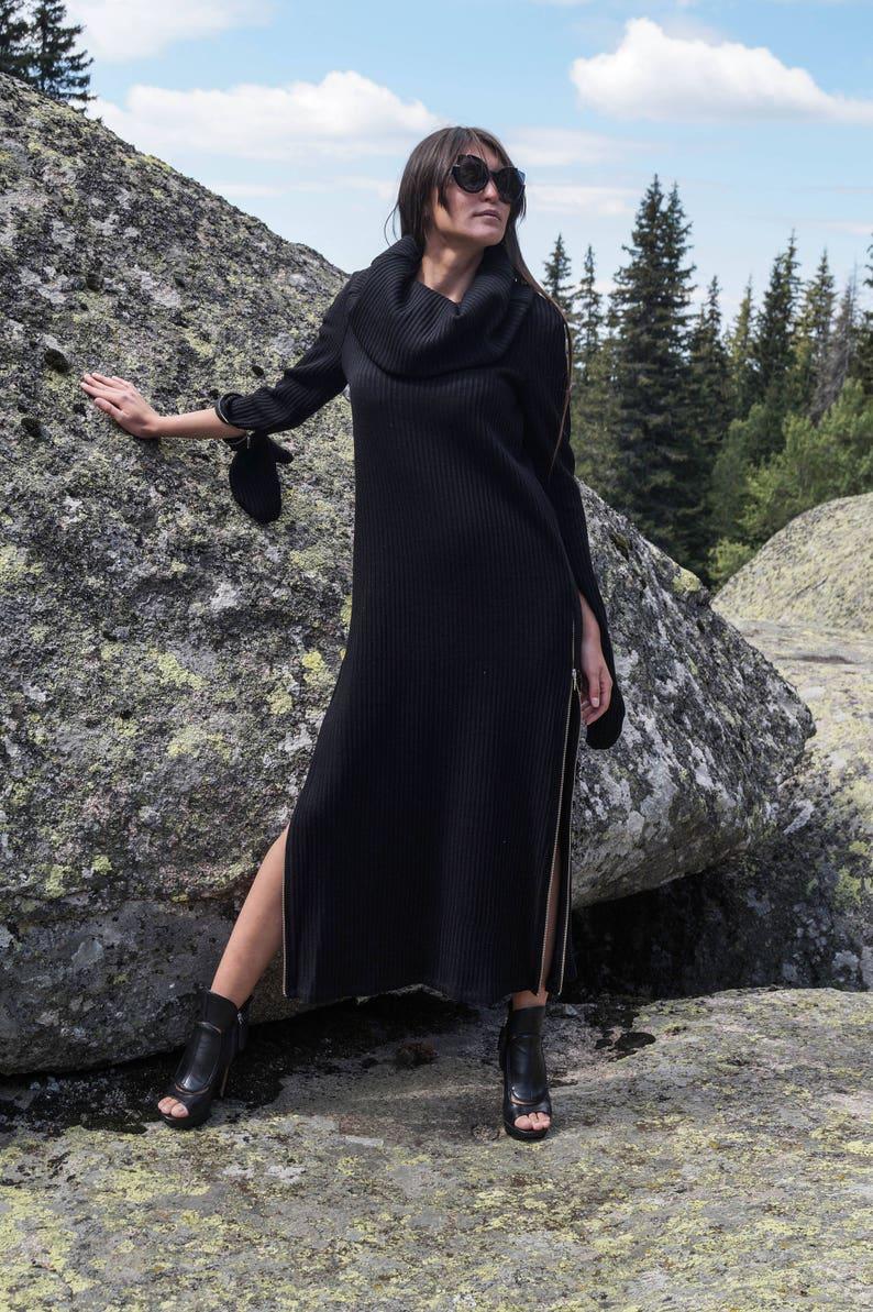 Black SweaterCozy PulloverSweater DressZipper DressKnit DressRibbed SweaterMaxi BlouseOver Sized Knit TopWinter DressSlitsF1699