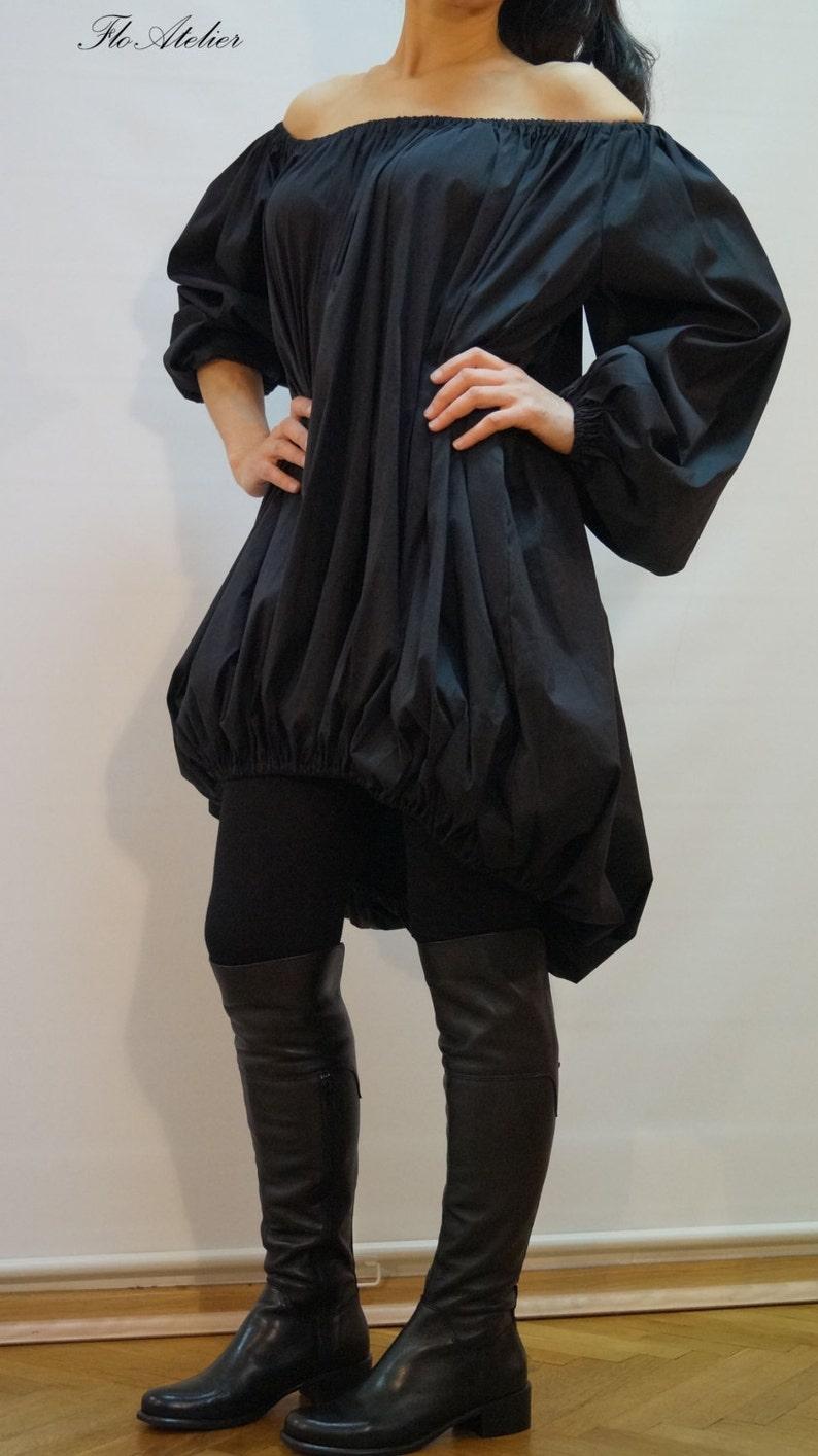 Parachute DressCasual Cotton TunicAsymmetrical Dress with Naked SholdersExtravagant TunicBlack Oversized Dress Oversized ShirtF1187