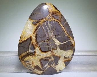 Septarian nodule cabochon, gray yellow jasper stone cab, natural stone gem, pendant jewelry bead, handmade necklace gemstone cabochon