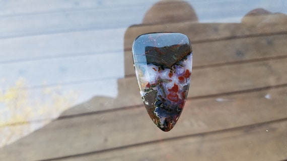 79 lit Thunderegg cabochon, oeuf de tonnerre agate plume rouge, collier, bijou pierre naturelle, pendentif bijoux de perle, Pierre collier, rouge, cabochon fait à la main 7c5ba6