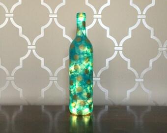 Blue & Gold Polka Dot Light Up Wine Bottle