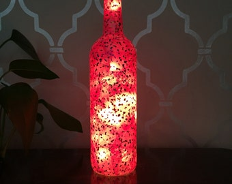 Pink Confetti Light Up Wine Bottle