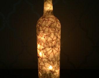 Tan Faux Antique Leather Light Up Wine Bottle