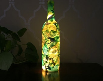 Lime Green Light Up Wine Bottle