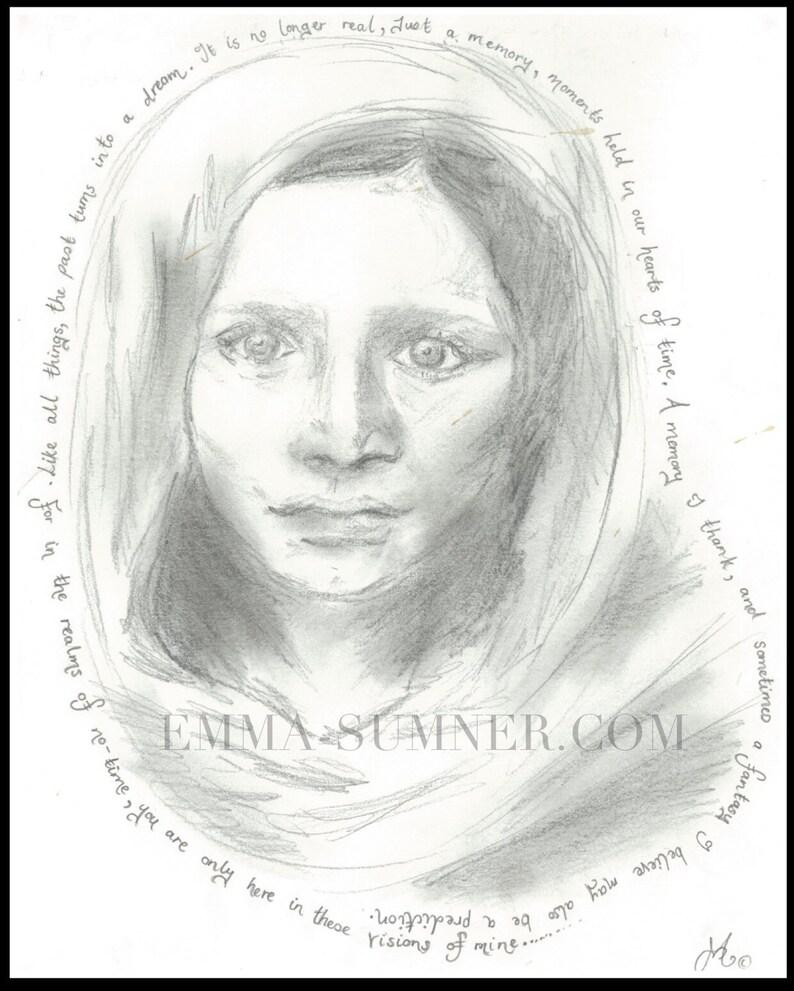 Afganistani Girl Portrait Drawing Sketch   PRINT  National image 0