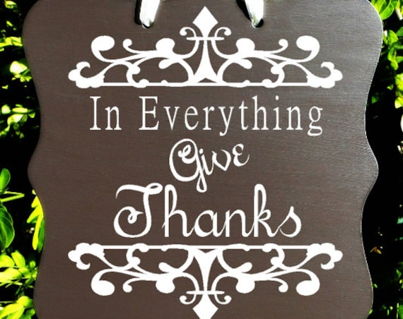 Give Thanks Sign, Thanksgiving Sign, Home Decor, Wall Art,  Hostess Gift, Christian Sign