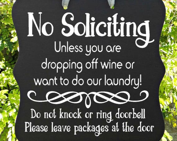 No Soliciting Sign, Wine, Laundry, Do Not Knock, Leave Packages, Front Door Sign, Door Hanger, Home Decor