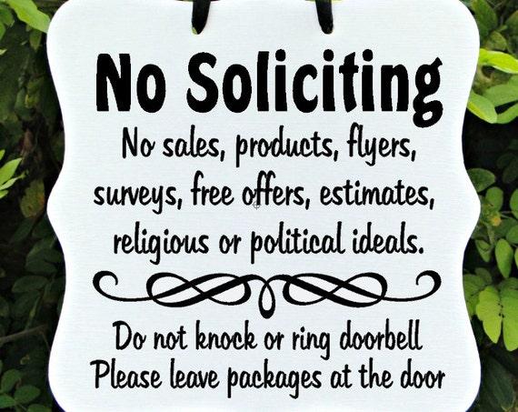 No Soliciting Sign, No Sales, Do Not Disturb, Front Door, Door Hanger, Home Decor, Custom Order, Wood Sign
