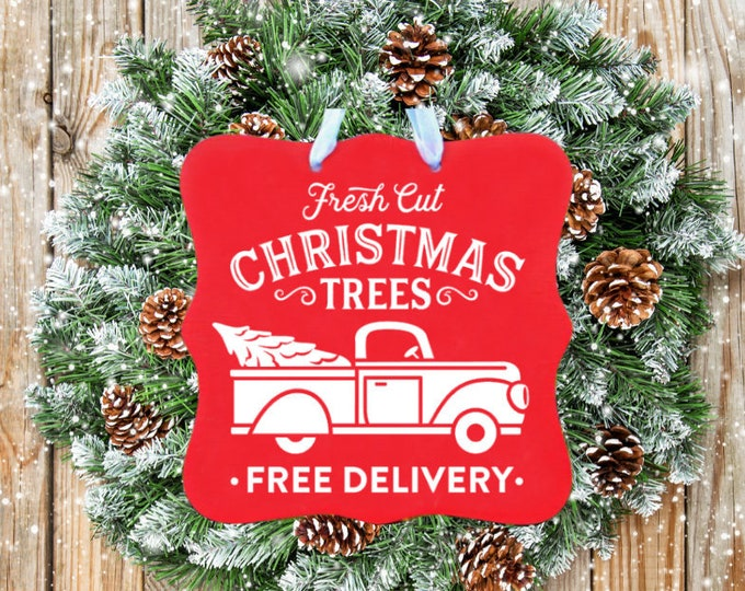 Fresh Cut Christmas Trees Sign, Holiday Decor, Christmas Sign, Truck, Door Sign