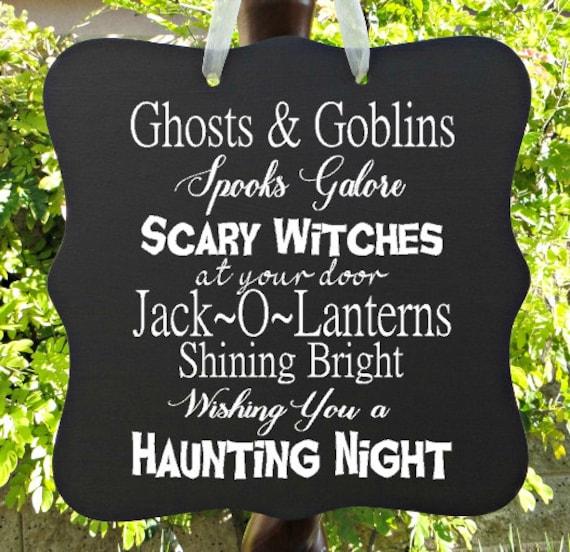 Halloween Sign - Haunting Night, Ghosts, Goblins, Witches, Jack O Lantern, Door Hanger, Halloween Decor